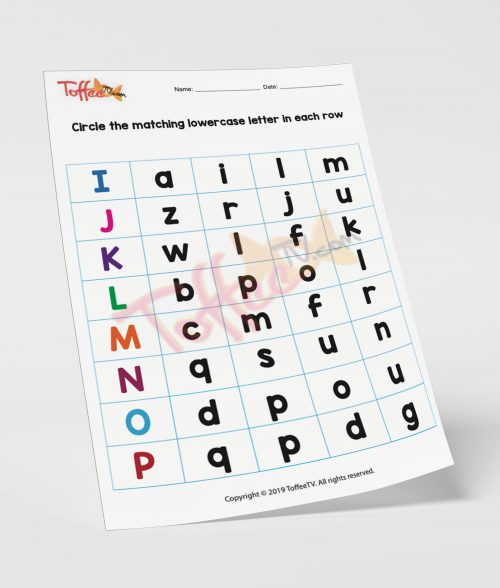 Circle the Matching Lowercase Letter in Each Row